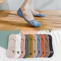 5 paare/paket Bestickt Ausdruck Frau Socken Kühle Invisible Socke Hausschuhe Frauen Sommer Boot Keine Zeigen Baumwolle Candy Farbe