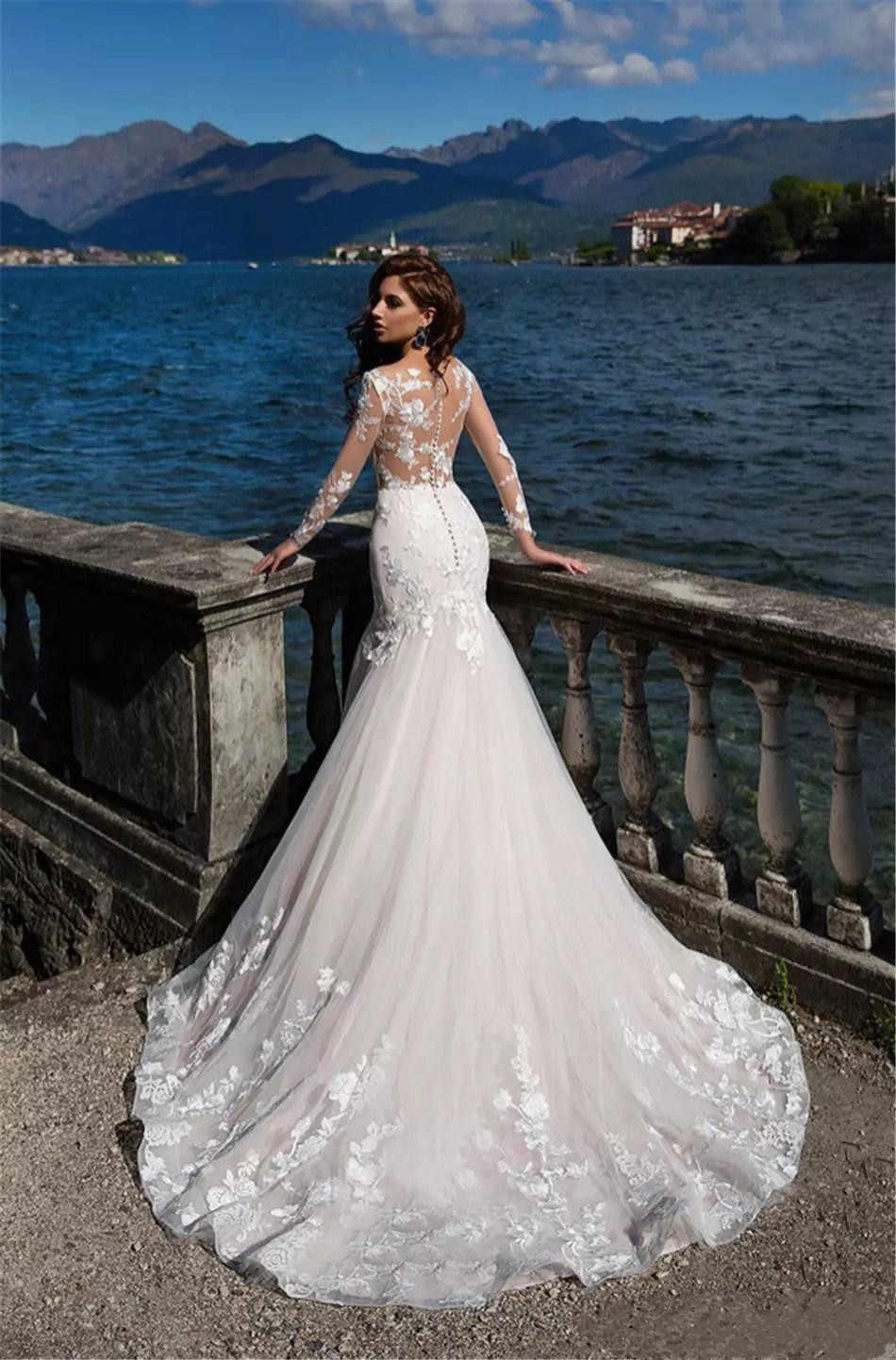2020 חתונה אפריקאית שמלות ארוך שרוולי טול תחרת אפליקציות כלה שמלות Sheer צוואר לטאטא רכבת פורמליות בת ים חתונה שמלה