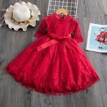 Красные детские платья для девочек; кружевное платье с фатиновой юбкой и цветочным узором; свадебные платья для маленьких девочек; вечерние платья для дня рождения; Детская осенняя одежда