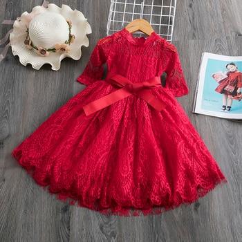 Red Kids Dresses For Girls Flower Lace Tulle Dress Wedding Little Girl Ceremony Party Birthday Dress Children Autumn Clothing