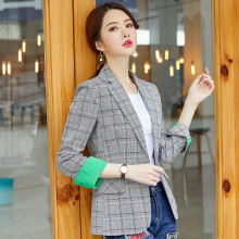 High quality womens blazer Long sleeve slim plaid suit jacket female 2019 autumn new office Womens