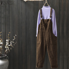 ZANZEA Corduroy Overalls Womens Jumpsuits Loose Dungarees Bib Pants Casual Solid