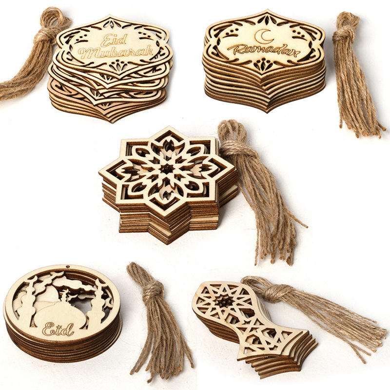 10pcs Wood Eid Mubarak Pendants Ramadan Dropping DIY Eid Mubarak Decoration Hajj Mubarak Party Supplies  Moon Eid Al-Fitr Decor