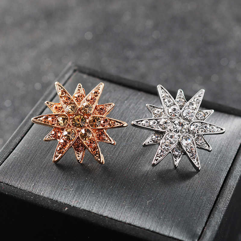 Korean Fashion Cubic Zirconia Star Brooch Pin for Men Lapel Button Suit Corsage Badge Shirt Collar Accessories Jewelry Luxury