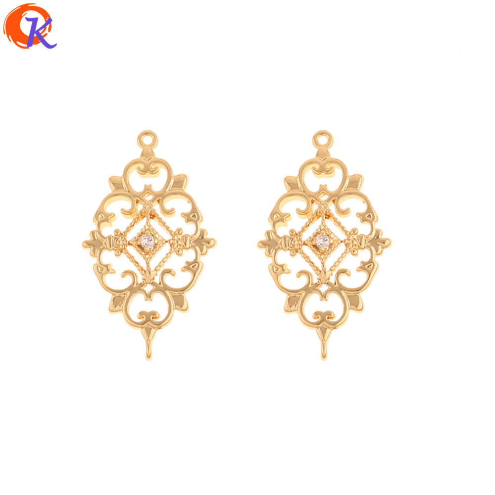 Cordial Design 30Pcs 14*24MM Jewelry Accessories/CZ Earring Connector/Genuine Gold Plating/Hand Made/DIY Making/Earring Findings