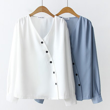 Blusas mujer de moda 2019 chiffon blouse shirt for women tops white and blue Button Solid V-Neck long sleeve korean 0244