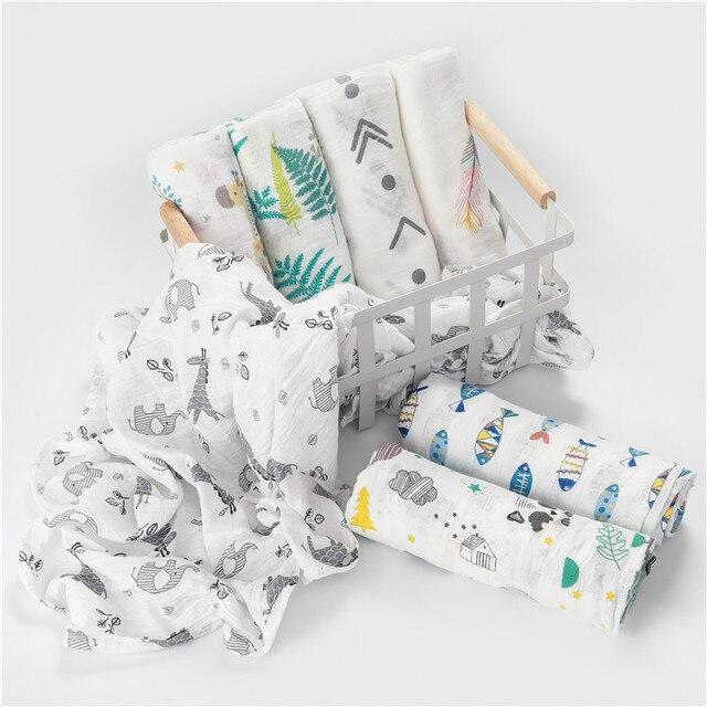 [simfamily] 1Pc Muslin 100% Cotton Baby Swaddles Soft Newborn Blankets Bath Gauze Infant Wrap sleepsack Stroller cover Play Mat 2