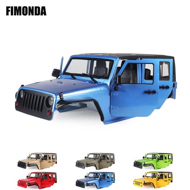 Jeep wrangler jk rubicon 4 portas, kit de concha de corpo rígido, 1/10mm, base de rodas para carros, axial scx10 90046 90047 rgt ex86100