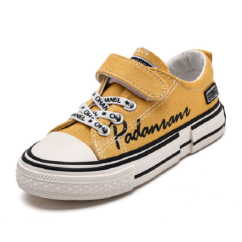 Little Kid Boys And Girls Canvas Sneakers Letter Design Soft Rubber Children Shoes White Yellow Black Teenages Canvas Shoes Kids