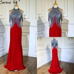 Image 5 - Serene Hill Black Mermaid Sexy Jersey Evening Dresses Gowns 2020 Luxury Beading Tassel Elegant For Women Party LA70346
