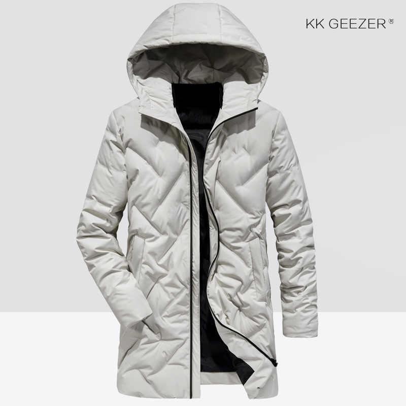 겨울 자켓 아래로 남자 긴 방풍 솔리드 컬러 오리 90% 파카 군사 비즈니스 두꺼운 코트 패딩 파카 방수 오버 코트