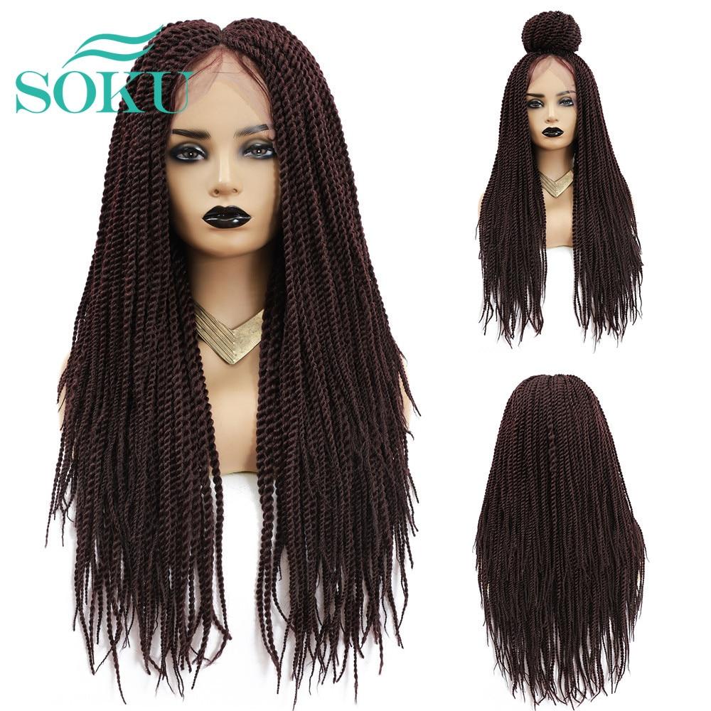 Soku tranças perucas sintéticas para mulheres preto colorido longo comprimento parte do meio peruca trançada de crochê com o cabelo do bebê estilo de moda