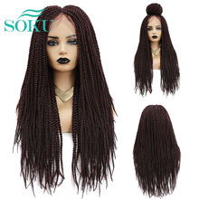 Synthetic Wigs Soku-Braids Black Colored Long-Length Women with for Middle-Part Crochet