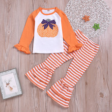 Get more info on the Toddler Baby Girls clothing Halloween Pumpkin Long Sleeve Tops+Striped Bell-bottoms Pants boutique kids cotton clothing  9.2
