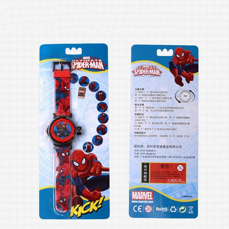 Marvel Hero Человек-паук Мальчики Интерес Часы Проектор 10 Выкройки Ребенок Цифровые Часы Студент Подарок Легко Читать Время Ребенок Часы Новинка