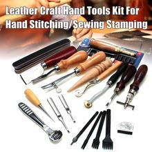 1 conjunto de ferramentas de artesanato de couro punch kit costura escultura sela groover melhor preço