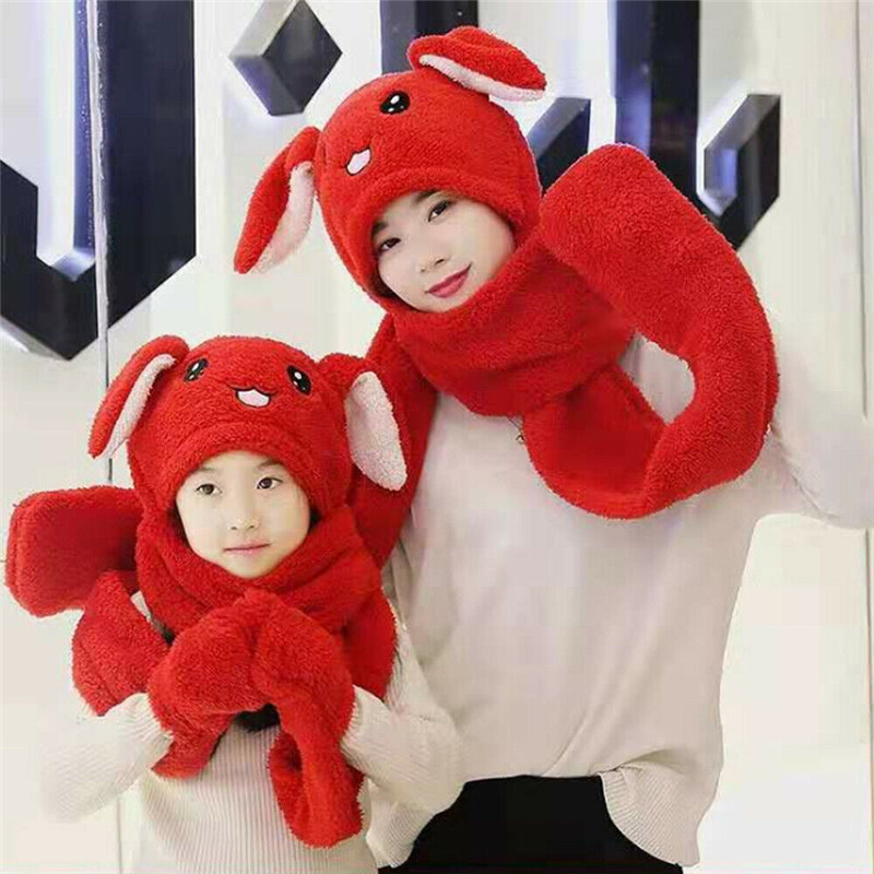 Funny Plush Moving Hats Women Girls Rabbit Ears Caps Pinching Bunny Hat Winter Warm Women Kids Cap Gloves Scarves Sets Hot Sale