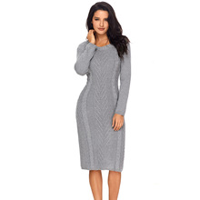 Women Autumn Winter Sweater Dress O-Neck Long Sleeve Knee-Length Pullover Jumper Office Lady Sexy Bodycon Knitted Dress 2019 new women slash neck irregular hem cashmere sweater dress long sleeve knee length knitted mermaid dress spring autumn bottoming