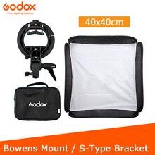 Godox 40x40cm Softbox + S tipi braketi Bowens tutucu + çanta seti için kamera flaşı