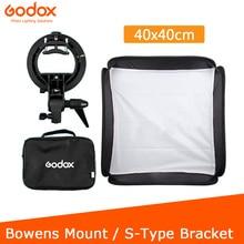 Godox 40x40cm softbox + s tipo suporte bowens suporte + saco kit para flash câmera