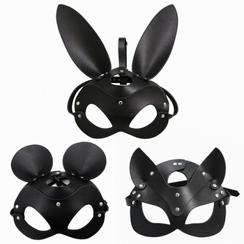 Fetish Head Mask BDSM Bondage Restraints Faux Leather Rabbit Cat Ear Bunny Mask Roleplay Sex Toy For Men Women Cosplay Games 1