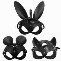 Fetisch Kopf Maske BDSM Bondage Fesseln Faux Leder Kaninchen Katze Ohr Bunny Maske Roleplay Sex Spielzeug Für Männer Frauen Cosplay spiele