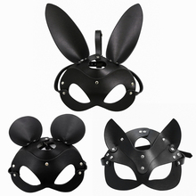 Fetish หน้ากาก BDSM Bondage Restraints หนัง Faux กระต่ายหูกระต่าย Mask Roleplay เพศของเล่นสำหรับผู้ชายผู้หญิงคอสเพลย์เกม