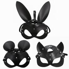 Fetish Head Mask BDSM Bondage Restraints Faux Leather Rabbit Cat Ear Bunny Mask Roleplay Se