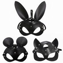 Máscara de cabeça fetish para bdsm, bondage, rendas, couro falso, coelho, orelha, máscara de coelho, roleplay, brinquedo sexual para homens e mulheres jogos