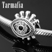 New 100% 925 Sterling Silver Evil Clear CZ Eye Charm Beads Fine Jewelry DIY fit Original Pandora Charm Bracelet Jewelry Making(China)