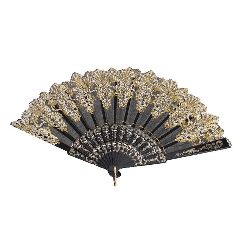 Large Folding Hand Fan Chinese Style Printed Foldable Fan Festival Gift Performance Fan (Black)
