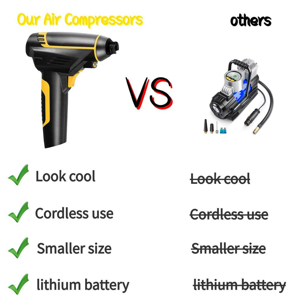Cordless Air Compressor Pump, Tire Inflator,Rechargeable 2200mAH Battery,for Car, RV, BicycleTruck, Ball, Motor and Other Inflat
