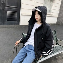 Autumn new womens hooded windbreaker large size loose academic jacket locomotive BF trend frock Outdoor