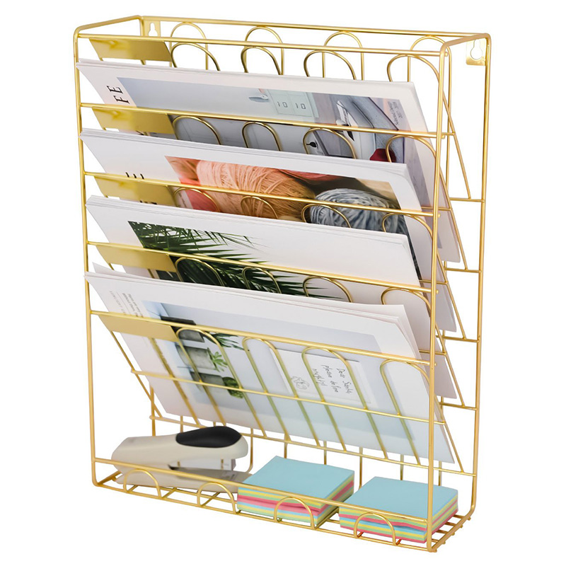 Office Files Organizer Black Mesh Wall Mounted Document Holder A4 Paper Storage