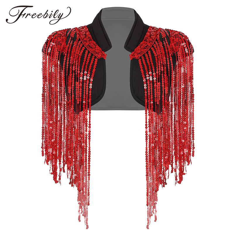 Women Sleeveless Sparkle Sequins Tassels Cropped Vest Waistcoat Hip-hop Jazz Dance Costume Rave Stage Performance Jacket Coat