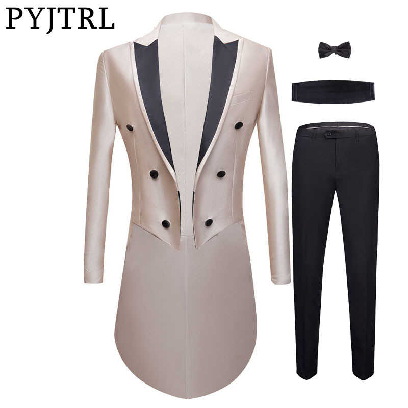PYJTRL nouveaux hommes 4 pièces ensemble luxueux mariage marié couleur brillante smoking messieurs bal Slim Fit robe costumes chanteurs Costume Homme