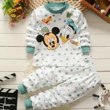 Комплект детской одежды, зимняя хлопковая одежда для новорожденных мальчиков и девочек с Микки Маусом, Детская Пижама, комплект детской оде...