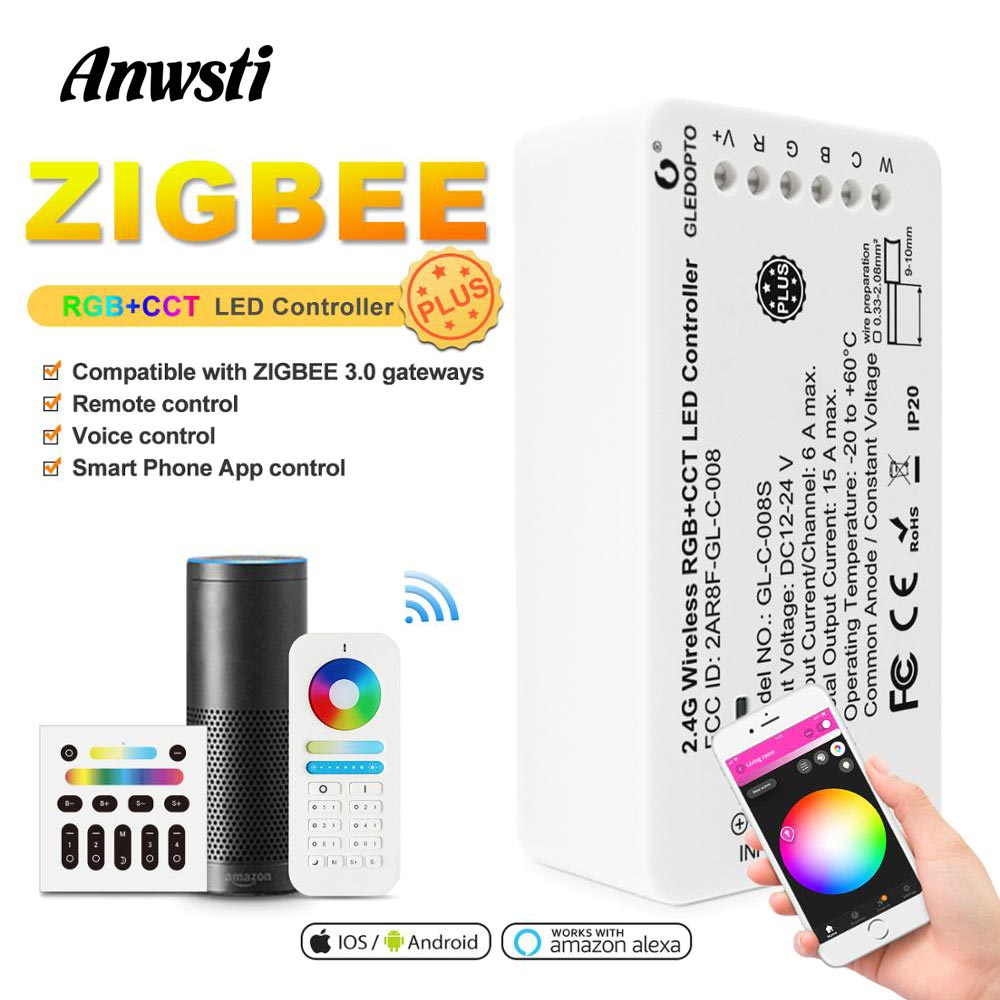 GLEDOPTO Zigbee Smart RGBCCT LED Controller Plus Work With Echo Plus Zigbee 3.0 Gateway Remote Control 24V 12V RGBWW Controller