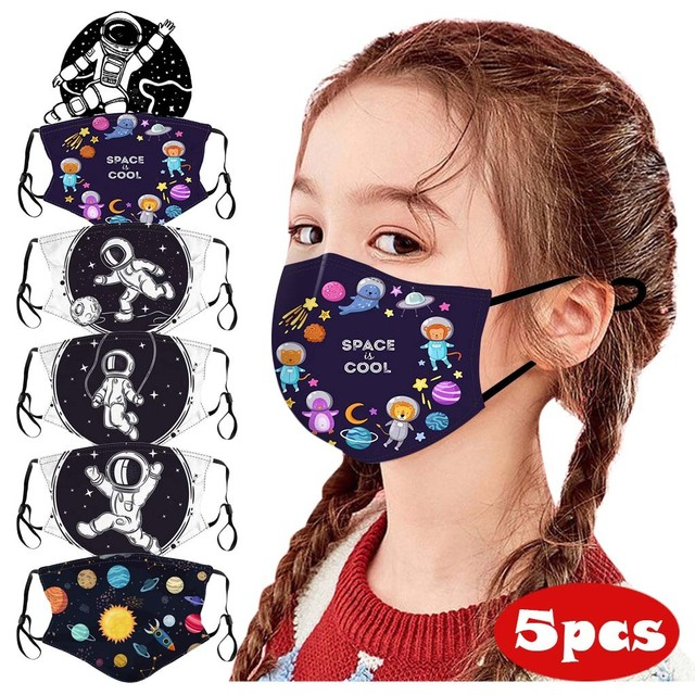 Children Kids Face Mouth Mask Planet Space Print Mouth-muffle Cute Mask For Girls Boys Adjustable Ear Loops Reusable Mask New #z 1