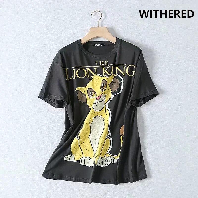 Murcho high street vintage rei leão dos desenhos animados impressão o pescoço lavado camiseta mulheres harajuku camiseta camisetas verano mujer 2019