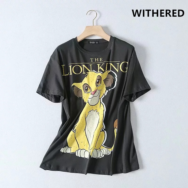 Withered high street vintage lion king cartoon printing o-neck washed   t     shirt   women harajuku tshirt camisetas verano mujer 2019