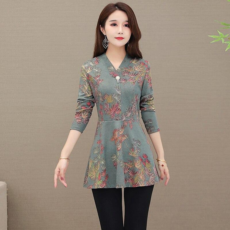 5XL Autumn Chiffon Blouse Shirts Casual floral Loose elegant v neck long Sleeve Floral Print Tops blusas blouse 2020 women 6