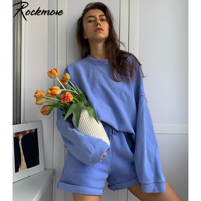 Rockmore Baggy Zwei Stücke Sets Langarm Sweatshirts und Shorts Damen Trainingsanzüge Solide Y2K Sweatsuits 2 Stück Set Outfit Herbst