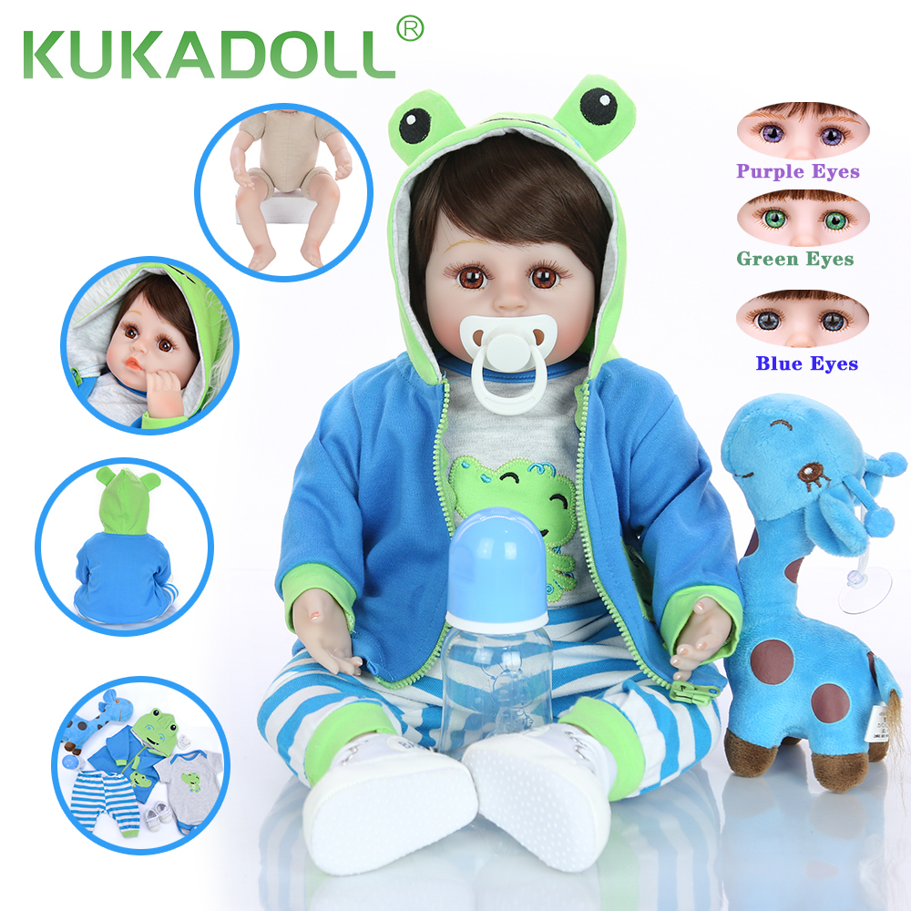 Simulation 18 Inch Reborn Baby Doll KUKADOLL Soft Silicone Cloth Body 48 CM Realistic Baby Toy Playmate For Kids Birthday Gift