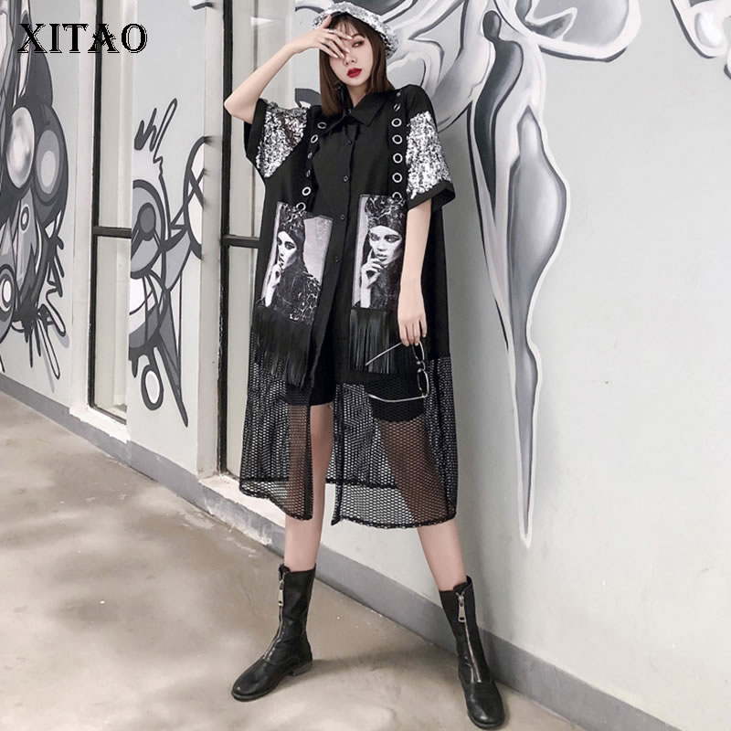 XITAO Hollow Out Blouse Fashion New Women Elegant 2020 Spring Elegant Tassel Patchwork Small Fresh Casual Loose Shirt DMY3253