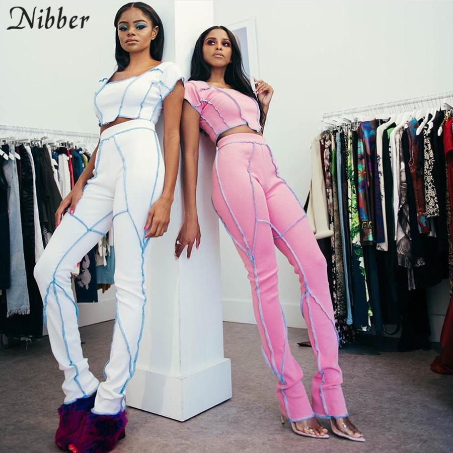 NIBBER Casual Suits Women Sport Suit Fitness Suit White Pink Solid Color 2 Pieces Set Stretch Slim Soft Spring Summer New Style