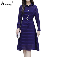 Aimsnug Plus Size 3XL New Female The Dress Retro Elegant Striped Dark Blue Lace Up Single-breasted Slim 2019 Autumn Women
