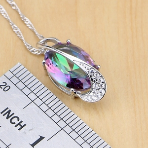 Image 3 - Mystic Rainbow Fire Австралийский Кристалл 925 серебряные ювелирные изделия для женщин Свадебные серьги/кулон/ожерелье/кольца/браслет