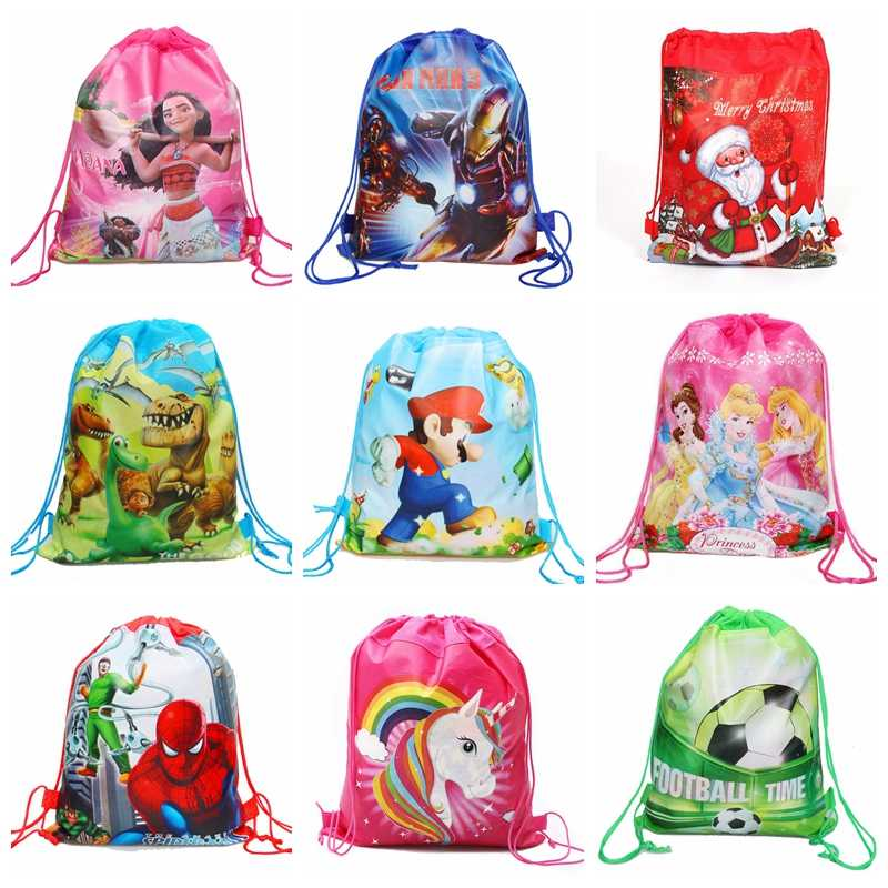 1Pcs Superman/Unicorn/Princess/Mario/Spiderman Drawstring Bag Draw Pocket Kids School Backpack Kids Party Supplies Gift Bag