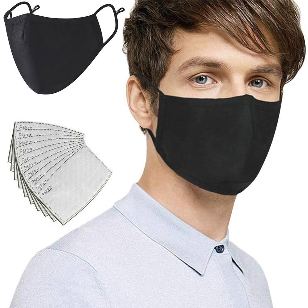 PM2.5 bomuldsmaske Anti-støvforurening Aktivt kulfilterpude Vaskbar Genanvendelig åndedrætsværn mund-dæmpning Unisex-masker sort